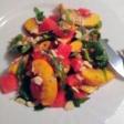 Салат из арбуза с руколой